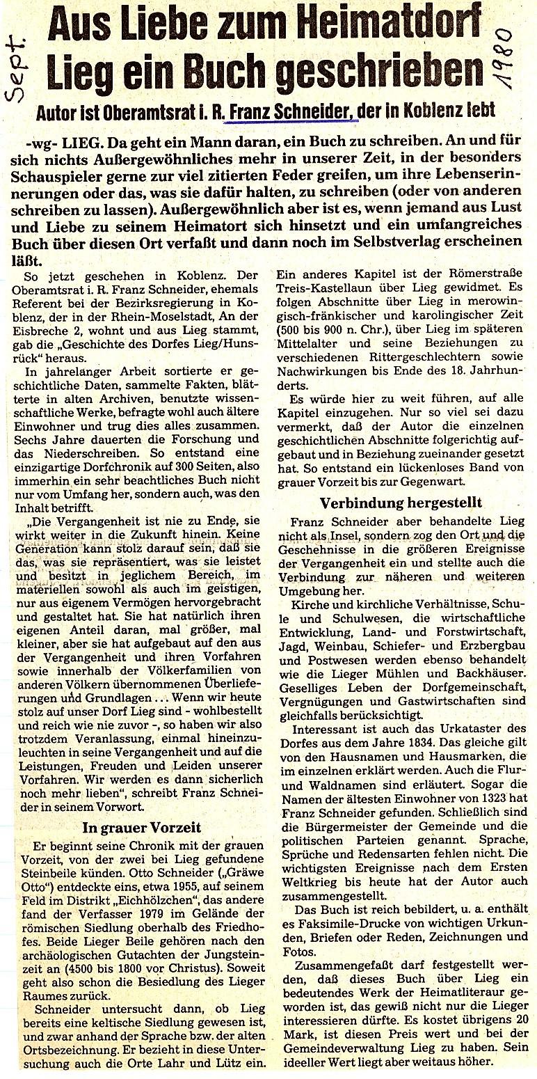 Zeitungsartikel Chronik Lieg 1980