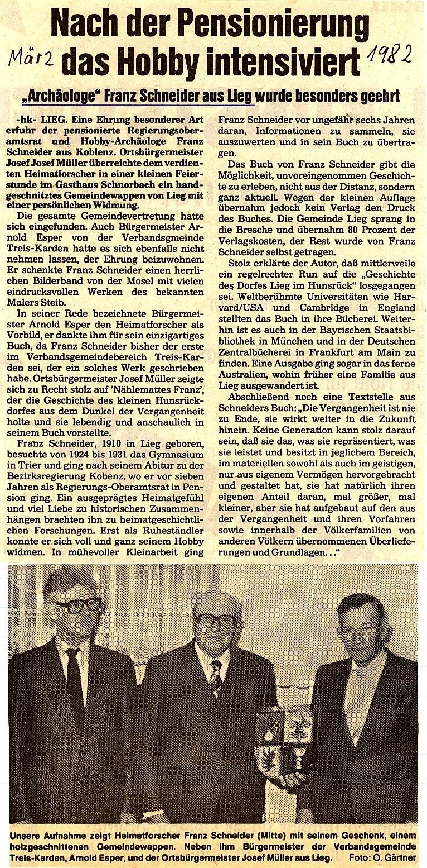 Zeitungsartikel Chronik Lieg 1982