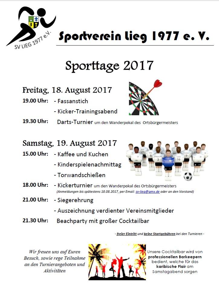 Vorankündigung Sporttage des SV Lieg